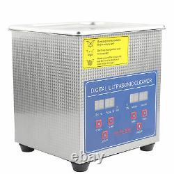1.3L Digital Ultrasonic Cleaner Cleaning Tank with Timer & Heater for Jewelry New