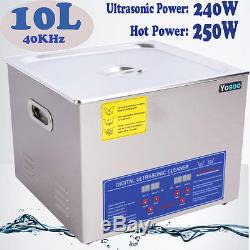 10L Digital Ultrasonic Cleaner Heater Heating Bath Timer Cleaning Basket & Cover