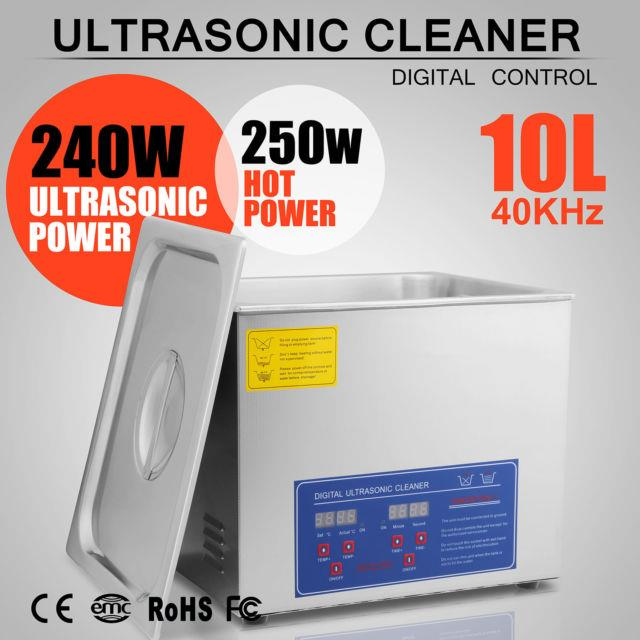 10l Heated Ultrasonic Cleaners Cleaning Equipment Brushed Tank Digital Control