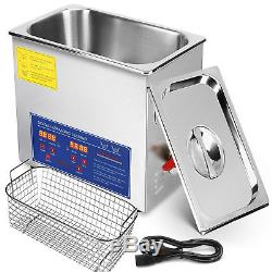 10L Industry Digital Ultrasonic Cleaner Heater Timer Stainless Jewel Clean Tank