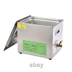 10L Ultrasonic Cleaner Machine Digital Timer For Glasses Jewelry Dentures Coins