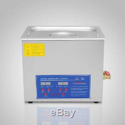10l Strong Digital Stainless Cleaner Ultra Sonic Bath Cleaning Tank Timer Heat