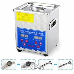 2l 80w Stainless Steel Digital Heated Industrial Ultrasonic Parts Cleaner Us