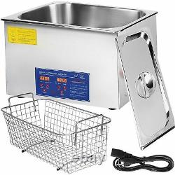 30l Qt 380w Digital Heated Industrial Ultrasonic Cleaner With Timer Basket Parts