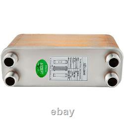 60 Plate Brazed Plate Heat Exchanger 4-1/4x12 1 MPT Ports Heating/Cooling