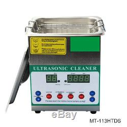 60W Small Digital Ultrasonic Cleaner 1.3L for Household Glasses Jewelry Cleaning