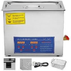 6L Liter Digital Ultrasonic Cleaner Stainless Steel for Jeweler with Heater Timer