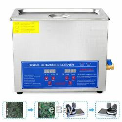 6L Professional Digital Ultrasonic Cleaner Machine With Timer Heated Cleaning US
