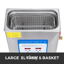 6L Ultrasonic Cleaner with Heater Timer Jewelry Digital 40KHZ GREAT STREET PRICE