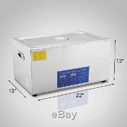 Digital Ultrasonic Cleaner Stainless Steel Heater Timer Industrial 30L Tank USA