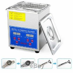 Newest 2L Digital Ultrasonic Cleaner Machine with Heater Timer Cleaning Jewelry