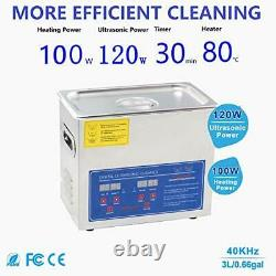 Professional Ultrasonic Cleaner 304 Stainless Steel with Digital Timer&Heate 3L