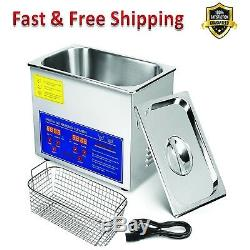 Ultrasonic Cleaner Digital Timer Jewelry Watch Glass Cleaner Solution 3L Heated
