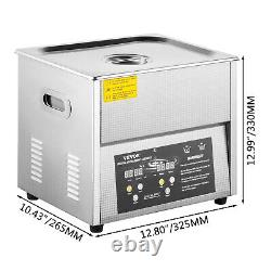 VEVOR 10L Ultrasonic Cleaner Stainless Steel 40kHZ Digital Jewerly Clean withTimer